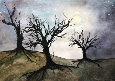 Moonlit Trees - Mixed Media - 2016