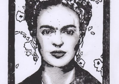 Frida - Linoprint & Pencil - 2017