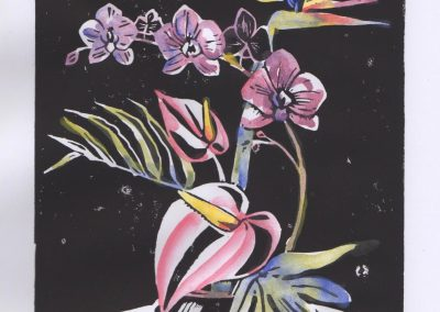 Orchid - Linoprint & Watercolour - 2017